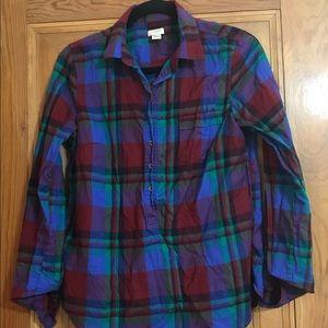 J CREW Dark Plaid 3/4 Button Down Flannel